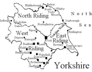 Map of old Yorkshire ridings